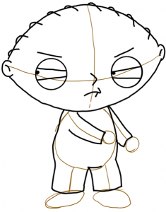 Step 5 - How to Draw Stewie from Family Guy