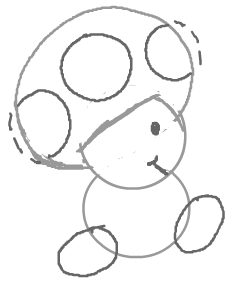 Step 5 : How to Draw Toads from Super Mario Brothers