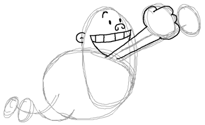 Step 6 : Drawing Captain Underpants in Easy Steps