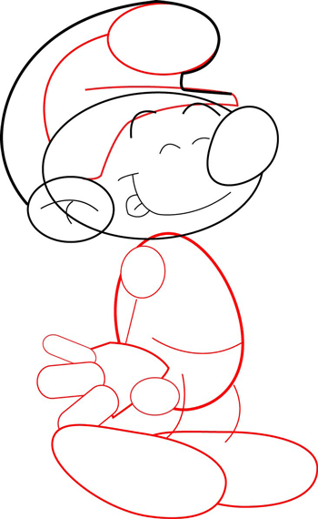 Step 6 : How to Draw Smurfs with Easy Steps