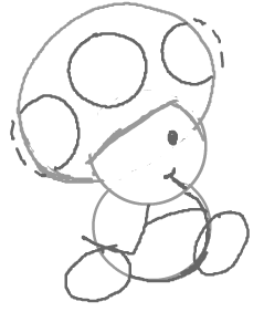 Step 6 : How to Draw Toads from Super Mario Brothers
