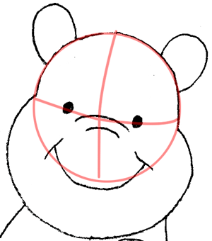 Step 7 Drawing Winnie the Poohs Face and Head