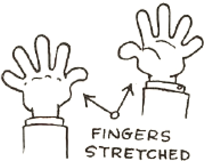 How to Draw Comic Cartoon Hands with Fingers Stretched Out
