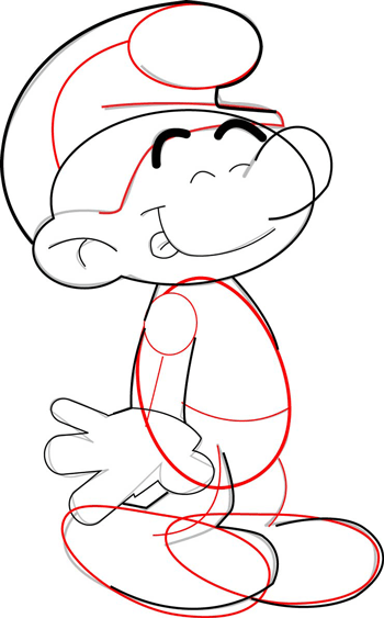 Step 7 : How to Draw Smurfs with Easy Steps