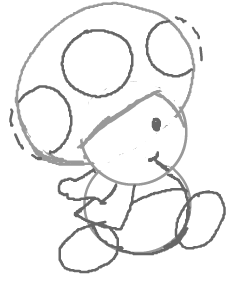 Step 7 : How to Draw Toads from Super Mario Brothers