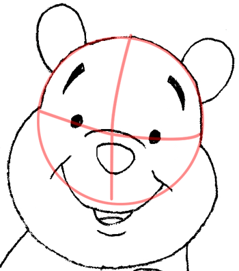 Step 8 Drawing Winnie the Poohs Face and Head