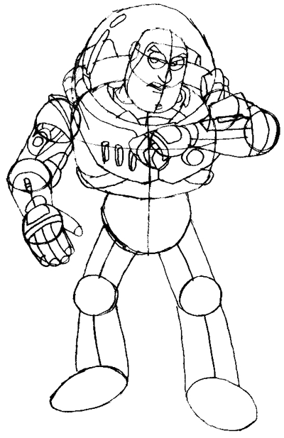 draw the details to his arms keep in mind that buzz is a toy so he has ball joints for his shoulders