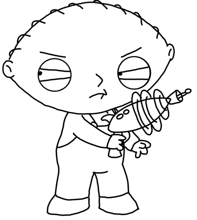 coloring pages family guy stewie | Drawing Stewie from Family Guy with Toy Gun Lesson - How ...
