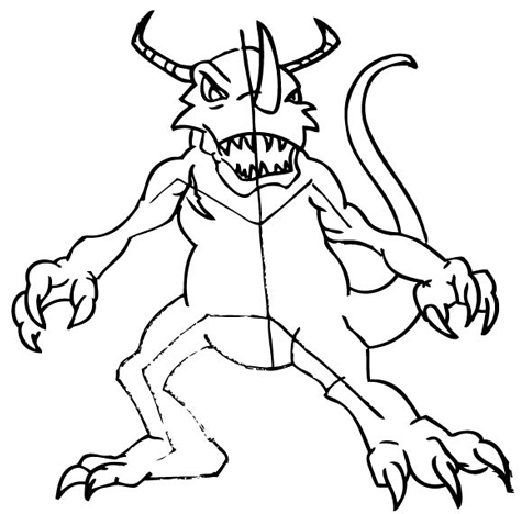 Step 11: Drawing Greymon with Step by Step Drawing Tutorial