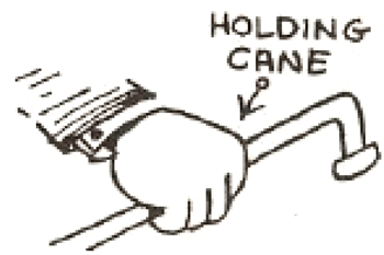 Drawing a Cartoon Hand Holding a Cane / back of the hand