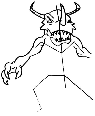 Step 5: Drawing Greymon with Step by Step Drawing Tutorial