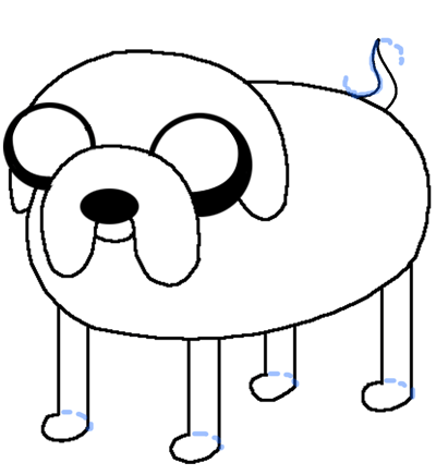 Step 6 - Drawing Jake the Dog in easy steps