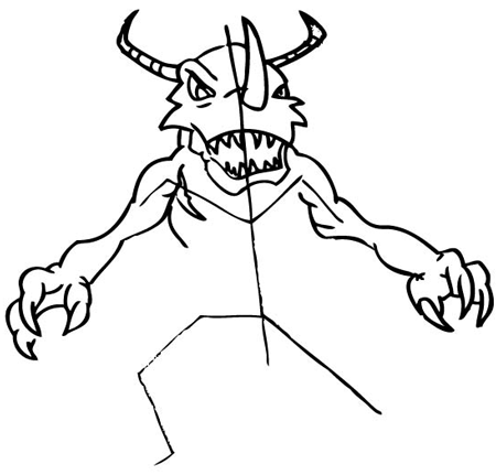 Step 6: Drawing Greymon with Step by Step Drawing Tutorial