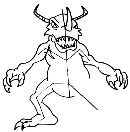 Step 8: Drawing Greymon with Step by Step Drawing Tutorial