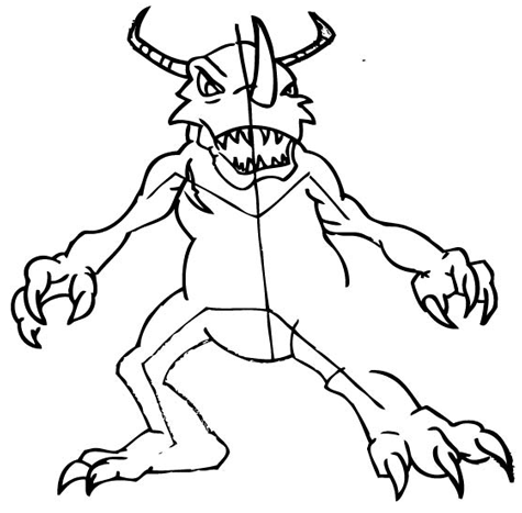 Step 9: Drawing Greymon with Step by Step Drawing Tutorial