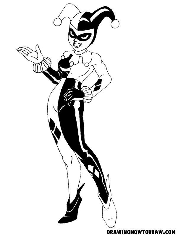 How To Draw Harley Quinn From Batman Comics With Drawing Lesson How To Draw Step By Step Drawing Tutorials