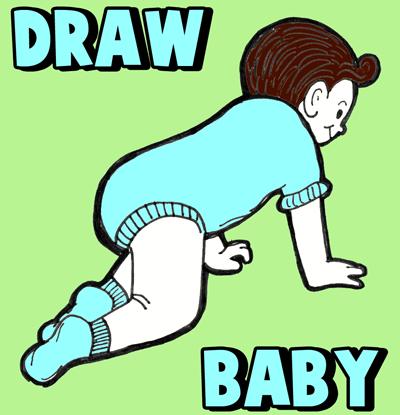 How to Draw a Crawling Baby with Cartooning Lesson