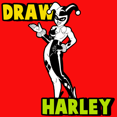 How to Draw Harley Quinn from Batman Comics with Step by Step Drawing Lesson