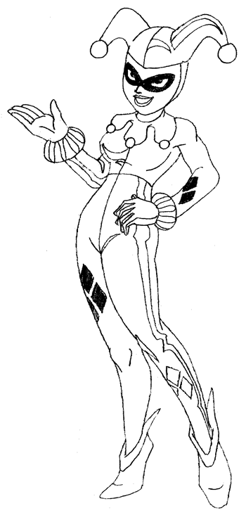 how to draw harley quinn from batman comics with drawing lesson