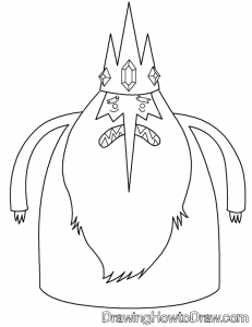 Coloring Book Page of The Ice King from Adventure Time