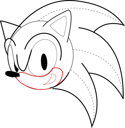 Step 4 drawing sonics face