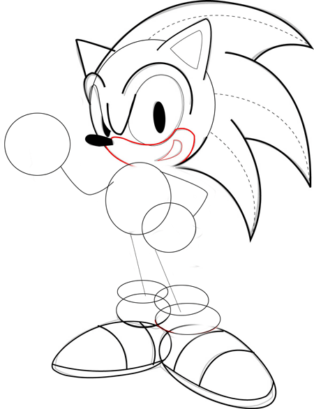 Step 5 : Drawing Sonic the Hedgehog Step by Step Drawing Lesson