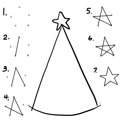 step 1 drawing christmas trees and christmas stars - How To Draw A Christmas Tree Step By Step