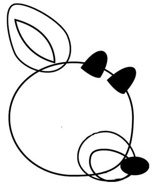 Step 2 : Drawing Rudolph the Rednosed Reindeer in Easy Steps Tutorial