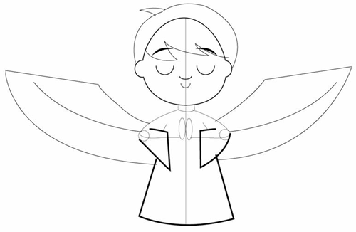 Step 3 : Drawing Cartoon Angel Boy in Easy Steps Lesson