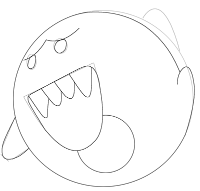 Step 4 Drawing Boo From Super Mario Bros Lesson