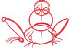 Drawing the cartoon frog step 3