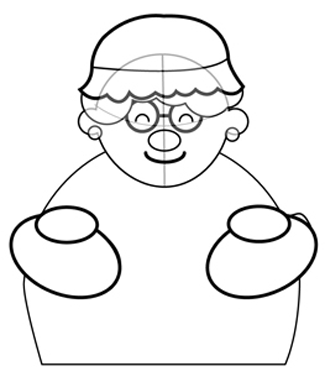 Step 3 : Drawing Mrs. Clause for Christmas with Easy Steps Tutorial