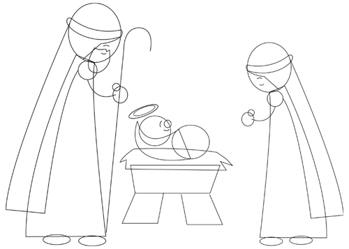 Step 5 : Drawing Nativity Scene with Baby Jesus Mary and Josheph in Manger