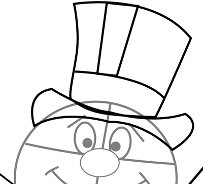 Step 7 : Drawing Frosty the Snowman in Easy Steps for Christmas