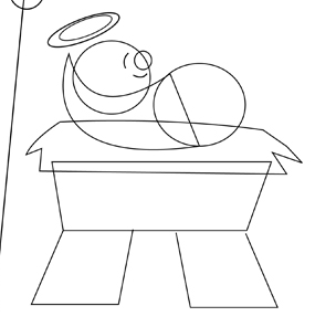 Step 4 : Drawing Nativity Scene with Baby Jesus Mary and Josheph in Manger