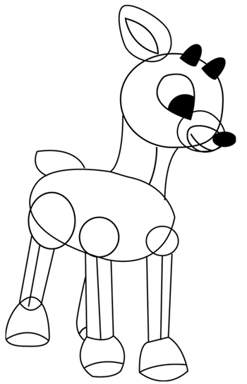 Step 4 : Drawing Rudolph the Rednosed Reindeer in Easy Steps Tutorial