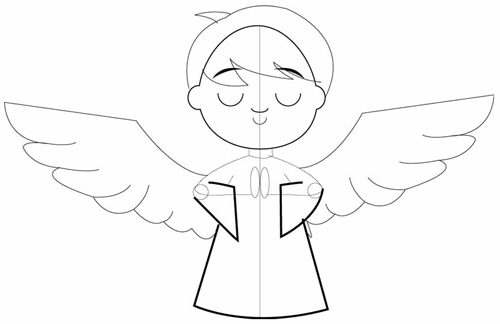 Step 4 : Drawing Cartoon Angel Boy in Easy Steps Lesson
