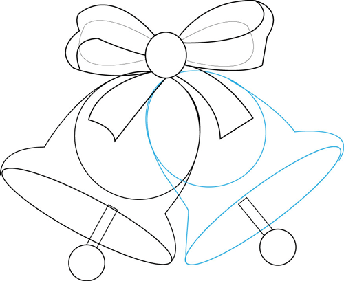 How to draw christmas bells and bow step by drawing