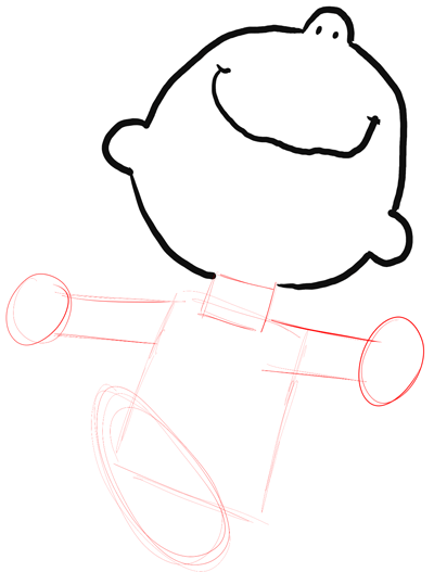 Step 4 : Drawing Charlie Brown and Snoopy Dancing Tutorial for Kids