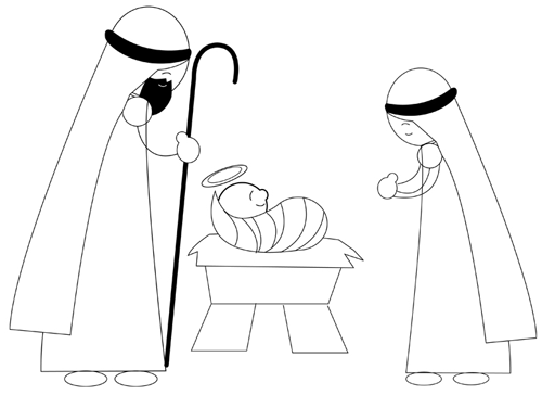 Step 6 : Drawing Nativity Scene with Baby Jesus Mary and Josheph in Manger