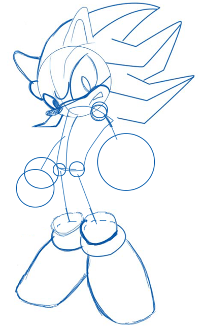 Step 4 : Drawing Shadow the Hedgehog in Easy Steps Lesson