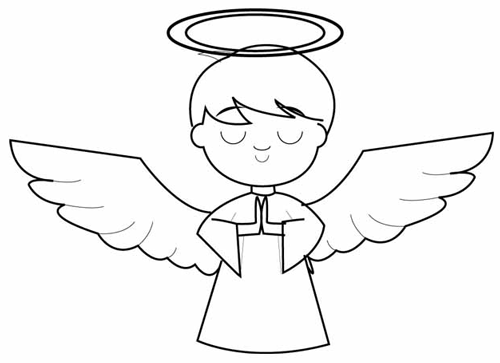 Step 5 : Drawing Cartoon Angel Boy in Easy Steps Lesson