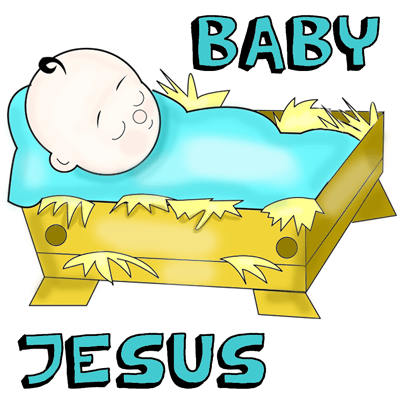 How to Draw Cartoon Baby Jesus in a Manger Cradle : Drawing Tutorial for Christmas