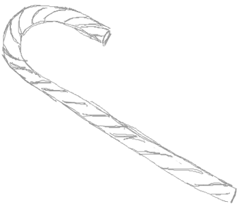 Step 5 : How to Draw a Candy Cane Wrapped with Bow Drawing Tutorial
