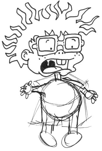 Step 5 : Drawing Chuckie from Rugrats in Easy Steps Tutorial for Kids