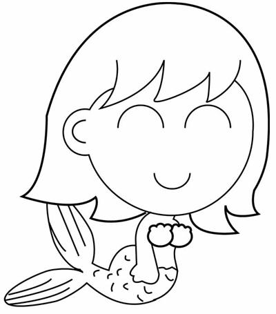 Step 5 : Drawing Cartoon Mermaids Swimming in Ocean Waters in Easy Steps