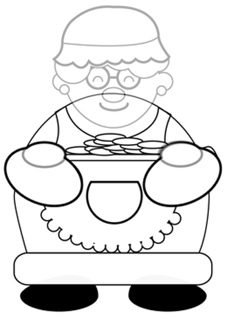 Step 5 : Drawing Mrs. Clause for Christmas with Easy Steps Tutorial