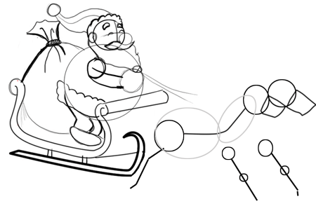 Step 8 : Drawing Santa Clause Reindeer Sleigh Flying Lesson