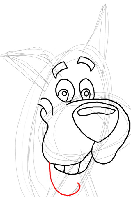 Step 8 : Drawing Scooby Doo Dog Easy Steps Lesson for Kids