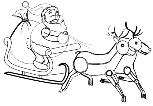 Step 9 : Drawing Santa Clause Reindeer Sleigh Flying Lesson